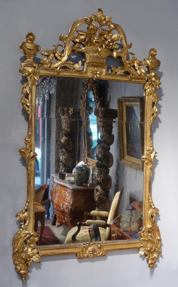 """French Mirror, """"transition"""", Gilded Wood, 18th Century"""