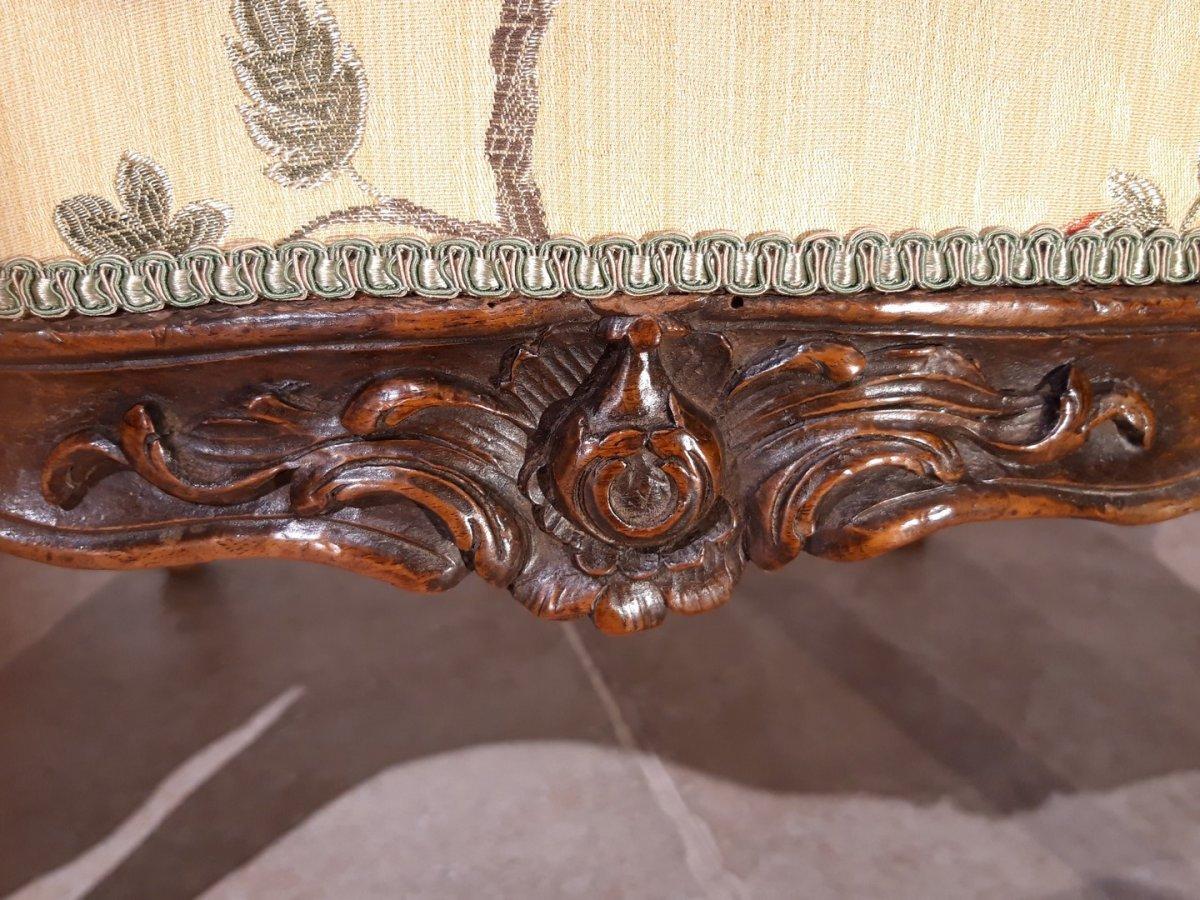 Paire de fauteuils Louis XV en noyer époque XVIII°-photo-3