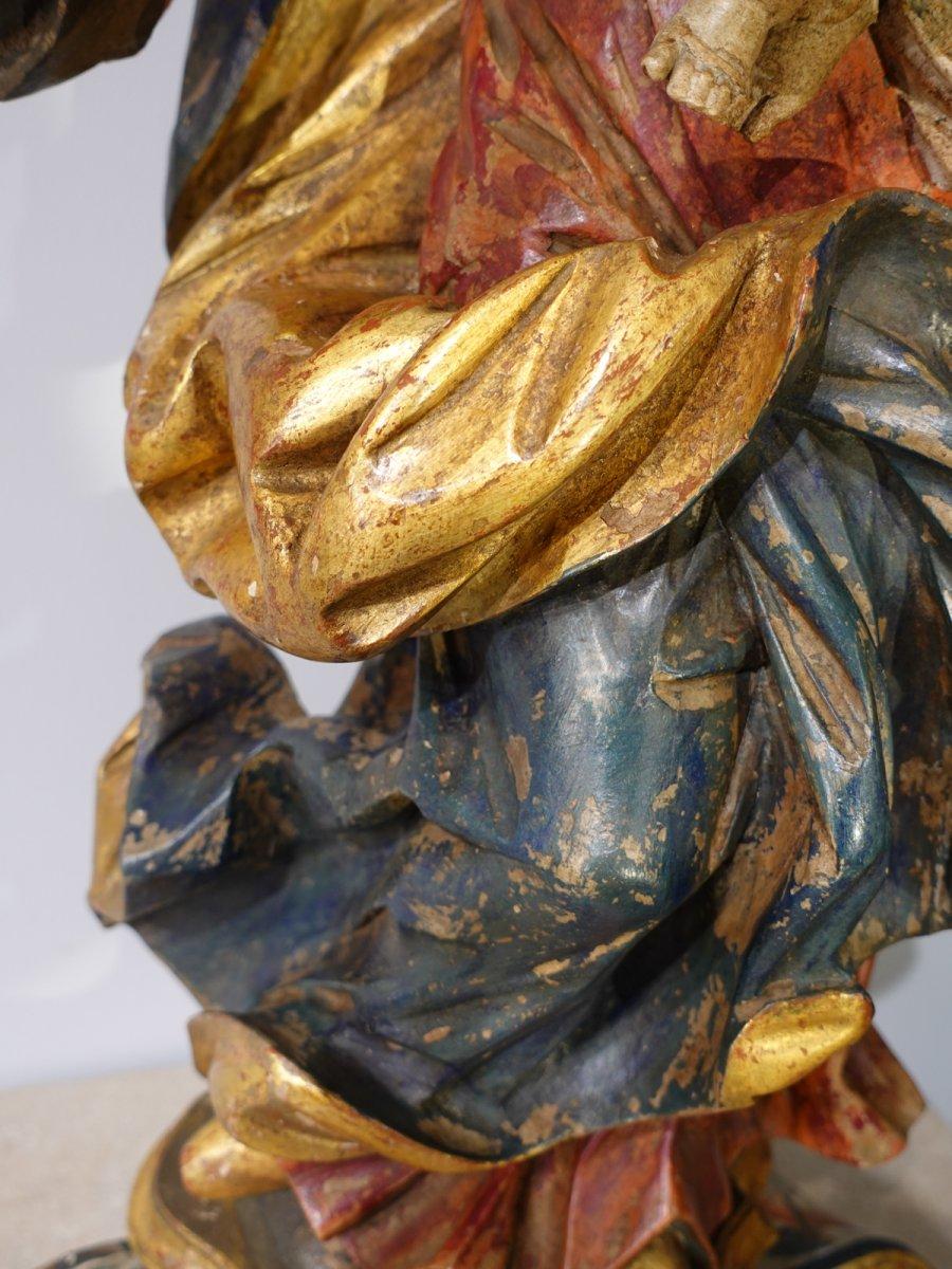 Vierge à l'enfant en bois sculpté polychrome d'époque XVIII°-photo-1