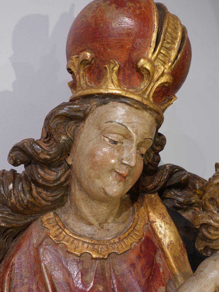 Vierge à l'enfant en bois sculpté polychrome d'époque XVIII°-photo-2