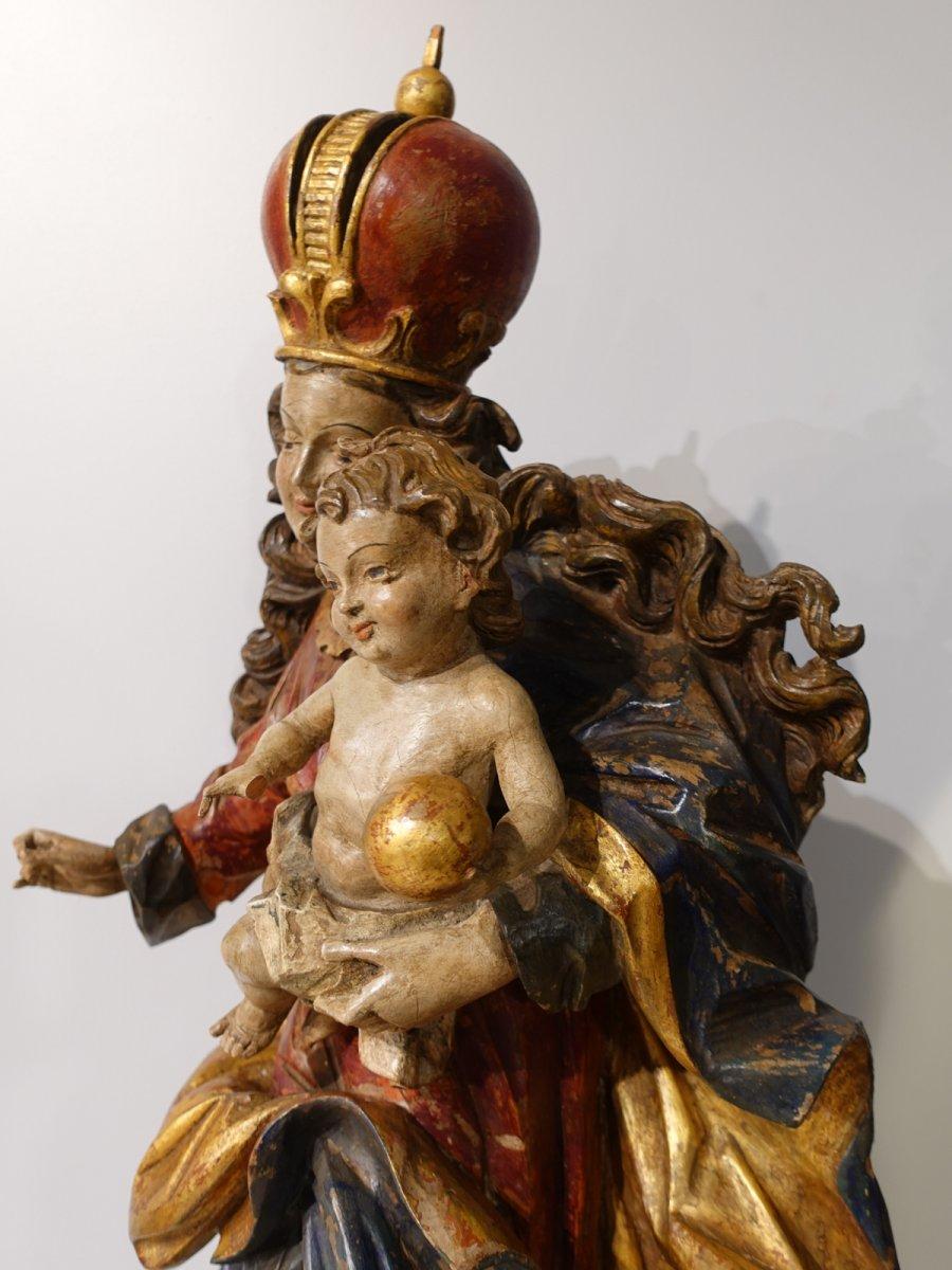 Vierge à l'enfant en bois sculpté polychrome d'époque XVIII°-photo-4