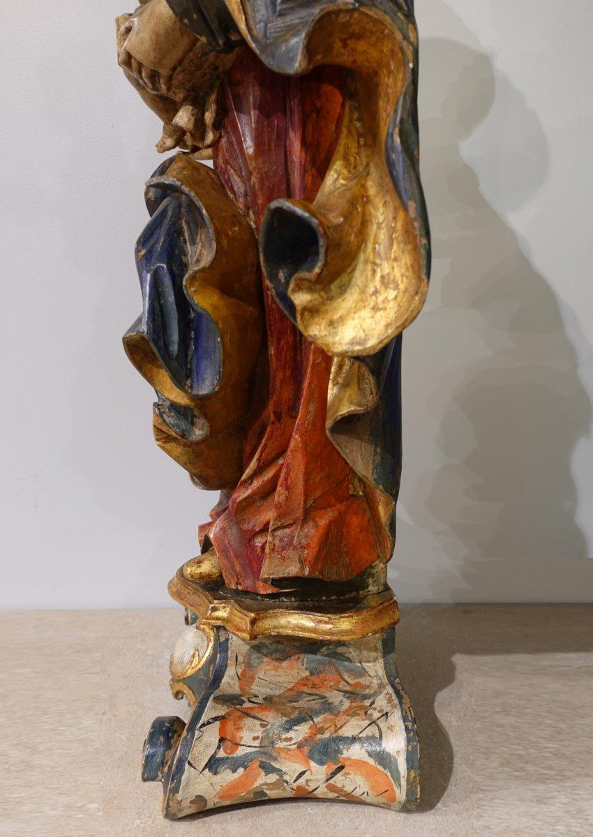 Vierge à l'enfant en bois sculpté polychrome d'époque XVIII°-photo-5