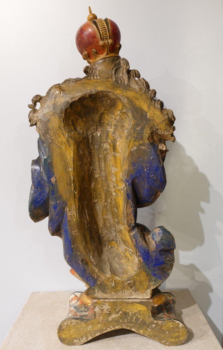 Vierge à l'enfant en bois sculpté polychrome d'époque XVIII°-photo-6