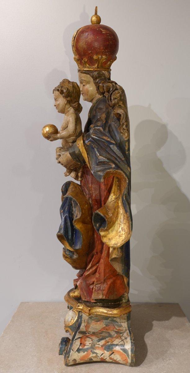 Vierge à l'enfant en bois sculpté polychrome d'époque XVIII°-photo-7