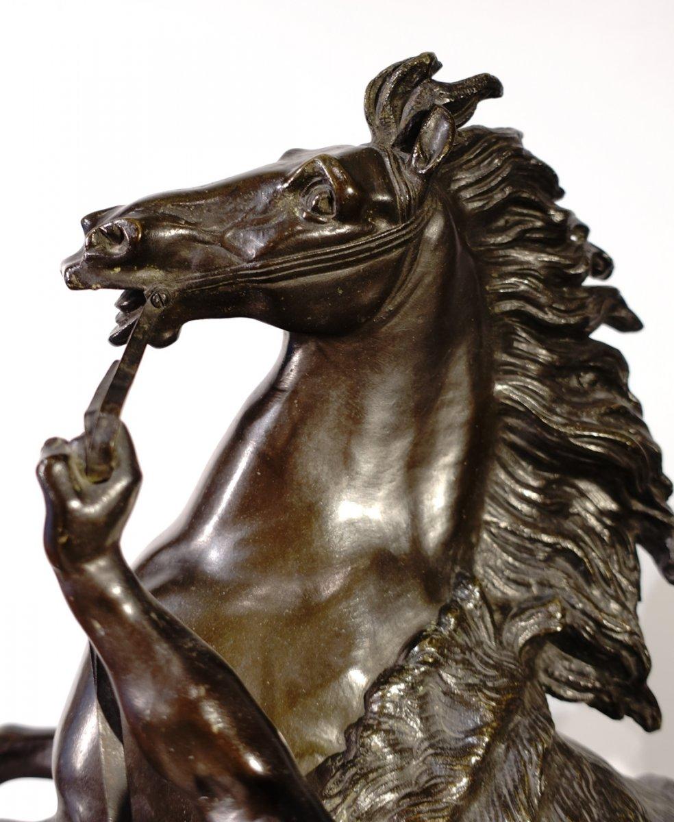Bronze «Les chevaux de Marly» d'après Coustou, École Française de la fin du XIX° siècle -photo-1