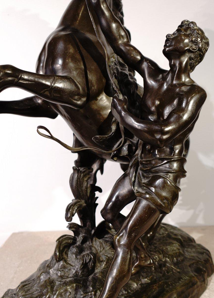 Bronze «Les chevaux de Marly» d'après Coustou, École Française de la fin du XIX° siècle -photo-2