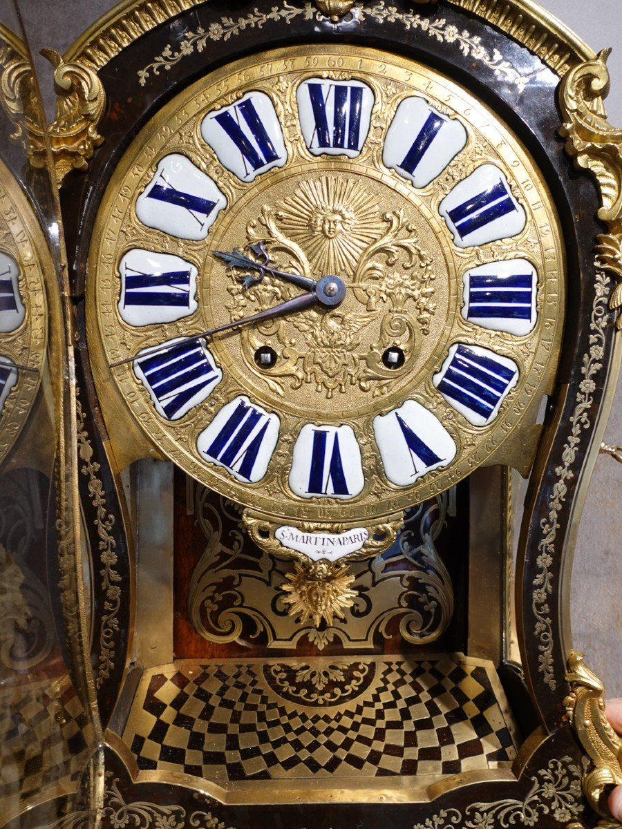 Cartel d'applique Louis XV en marqueterie Boulle signé « Saint Martin à Paris»-photo-1