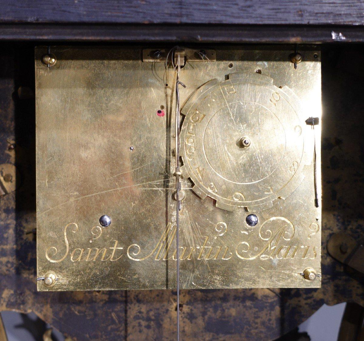 Cartel d'applique Louis XV en marqueterie Boulle signé « Saint Martin à Paris»-photo-3