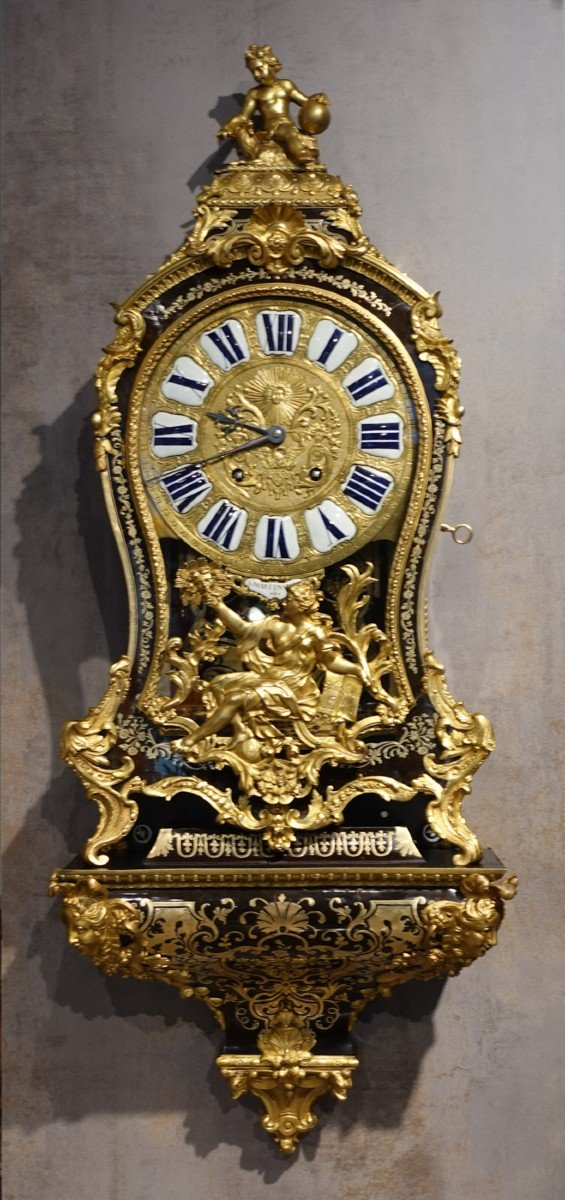 Cartel d'applique Louis XV en marqueterie Boulle signé « Saint Martin à Paris»