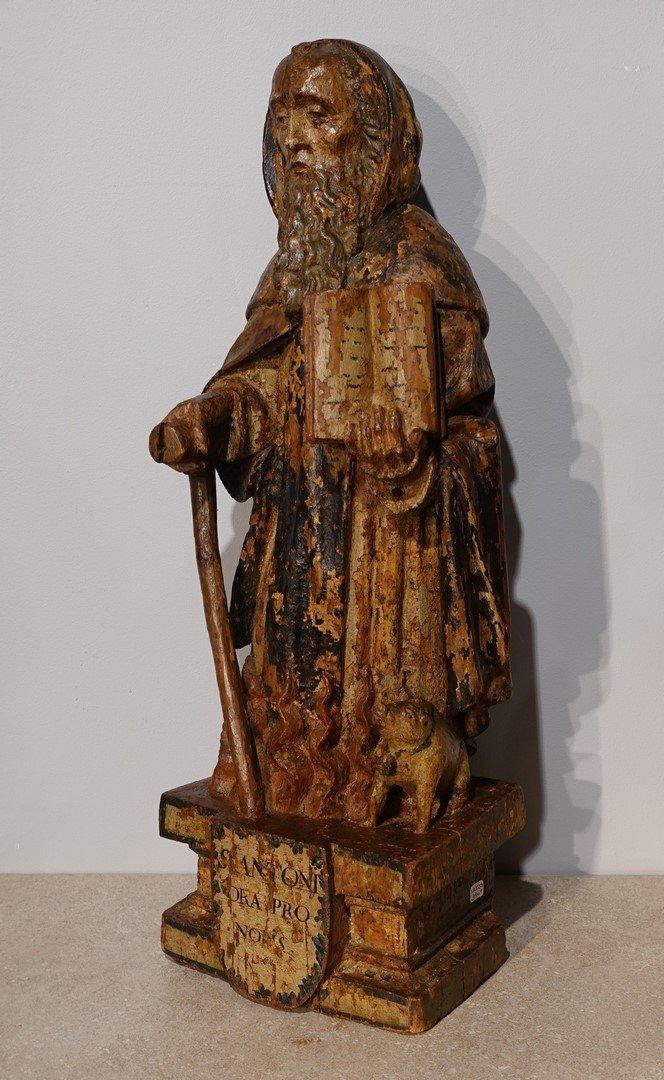 Saint Antoine ermite en bois sculpté et polychrome Époque XVII°-photo-2