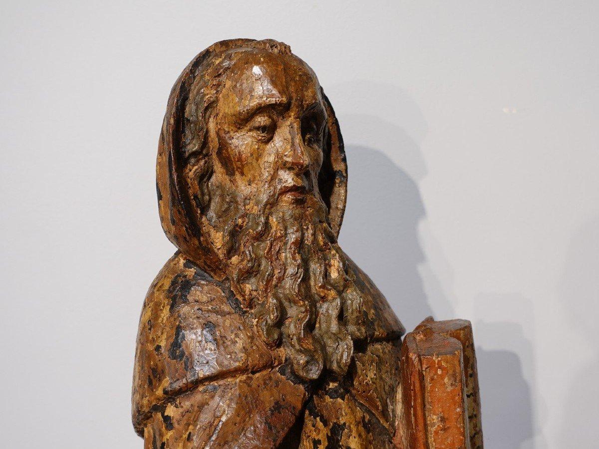Saint Antoine ermite en bois sculpté et polychrome Époque XVII°-photo-3