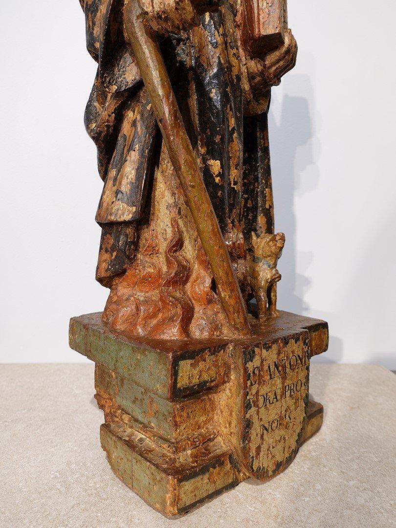 Saint Antoine ermite en bois sculpté et polychrome Époque XVII°-photo-1