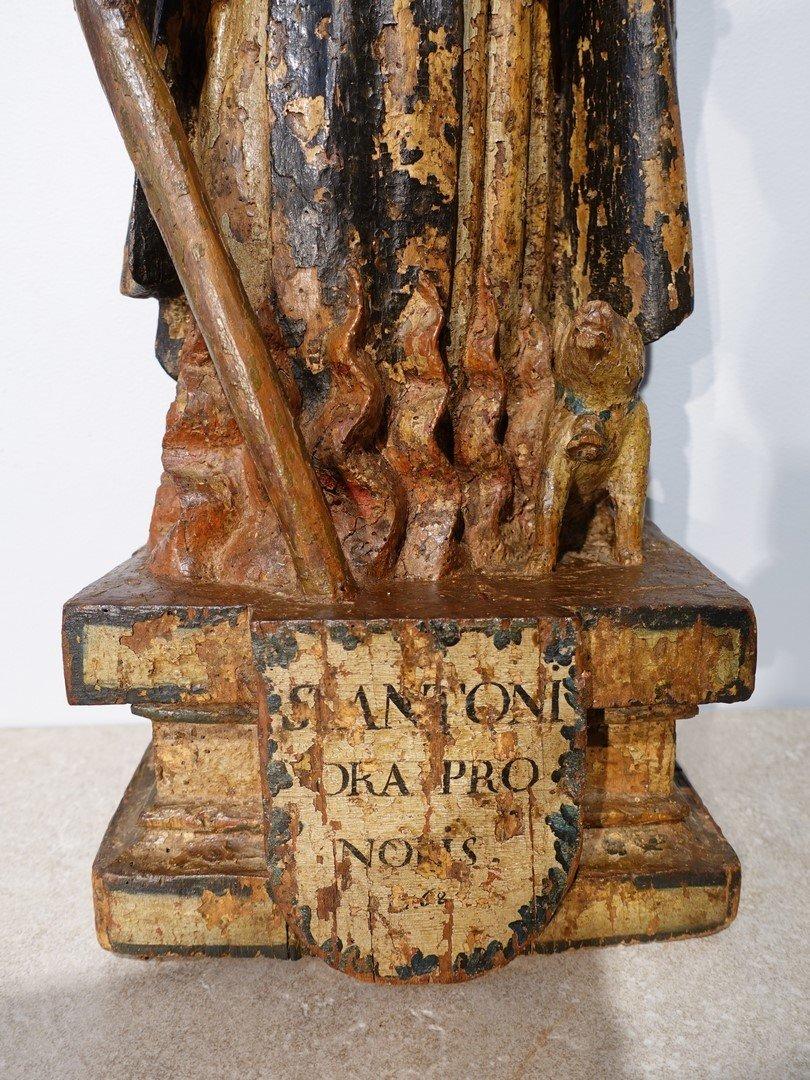 Saint Antoine ermite en bois sculpté et polychrome Époque XVII°-photo-4
