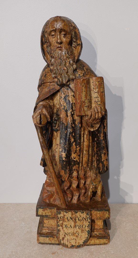 Saint Antoine ermite en bois sculpté et polychrome Époque XVII°