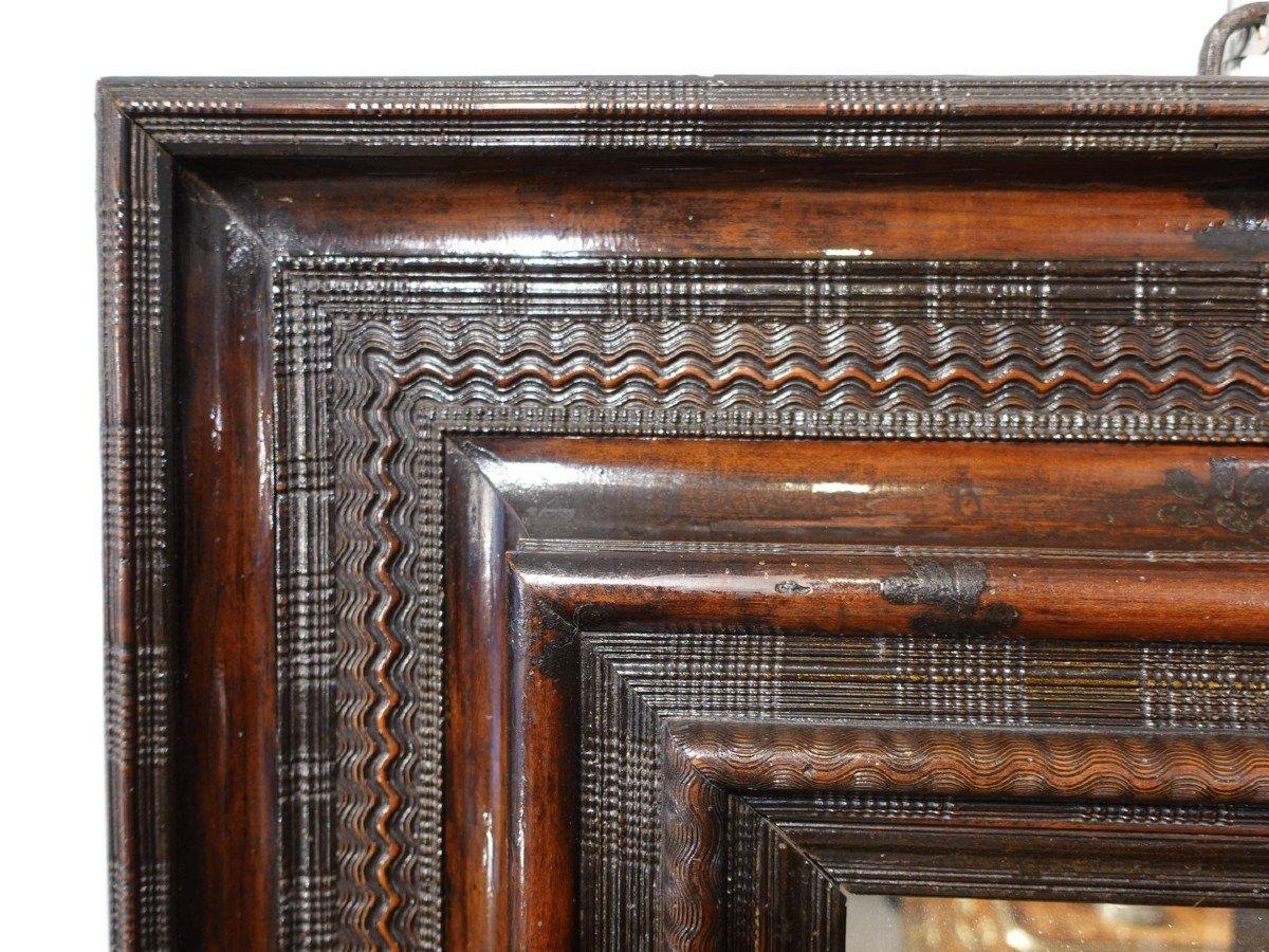 Miroir Louis XIII dit ''Huguenot'' à cadre guilloché d'époque XVII°-photo-3