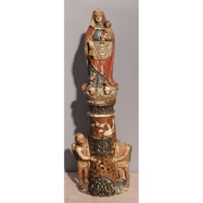 """""""Vierge du pilier"""" en albâtre polychromée d'époque XVII°"""