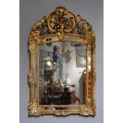 French Regency Mirror, Gilded Wood, 18th Century