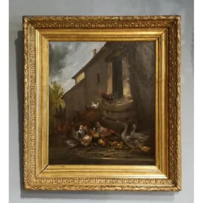 "Hst ""scene  Farmsteads "" Signed Claude Guilleminet (1821 - 1885) 19th Century"