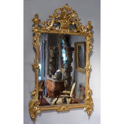 Grand miroir Transition en bois doré d'époque XVIII°