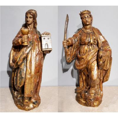 Saint Catherine Of Alexandria And Saint Beard Carved And Polychrome 17th Century