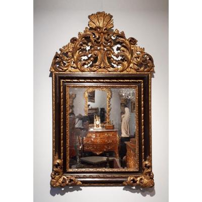 Miroir italien en bois doré d'époque XVII°
