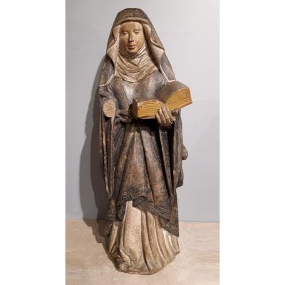 Sainte en pierre sculptée d'époque XV°