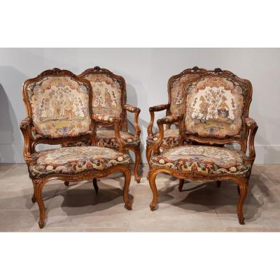 Suite Of Four Louis XV Armchairs Stamped Nogaret In Lyon