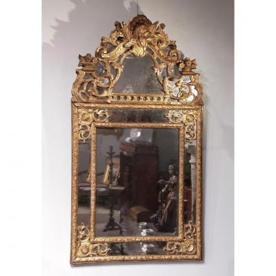Louis XIV Mirror In Gilded Wood, With Glazing Beads From The End Of The 17th Century