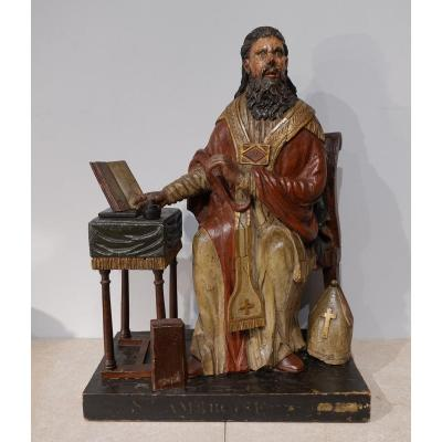 Saint Ambrose, Carved Wood, Late 18th Century
