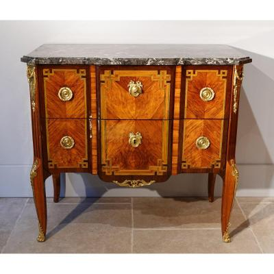 French Transition Chest Of Drawers, Stamped Mewesen, 18th Century