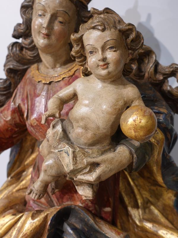 Vierge à l'enfant en bois sculpté polychrome d'époque XVIII°-photo-3