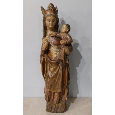 Madonna And Child In Carved And Polychrome Wood, 14th Century