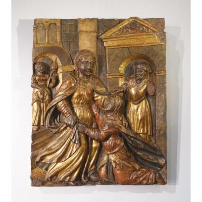 """Italian Low Relief Representing """"the Visitation"""", Polychrome Wood, Early 17th Century"""