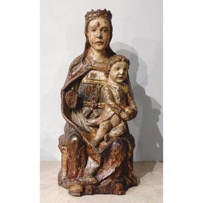 Virgin In Majesty,  Polychrome Wood, Spain, Late 16th Century - Early 17th Century