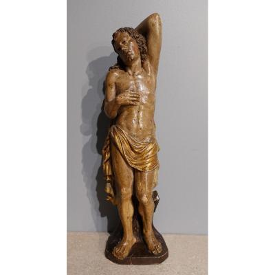 Saint Sebastian In Carved Wood 17th Century