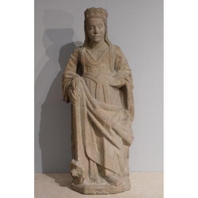 Sainte Catherine en pierre sculptée d'époque fin XV° - début XVI°