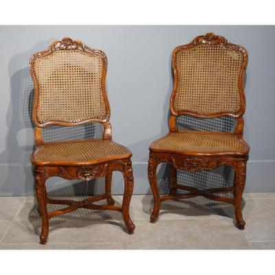 """Pair Of Louis XV Caned Chairs, Stamped """"gourdin"""", 18th Century"""