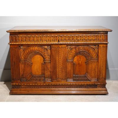 """French Renaissance Chest, Walnut, Decorated With """"perspectives"""", 16th Century"""