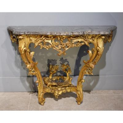Louis XV Console, Gilded Wood, 18th Century