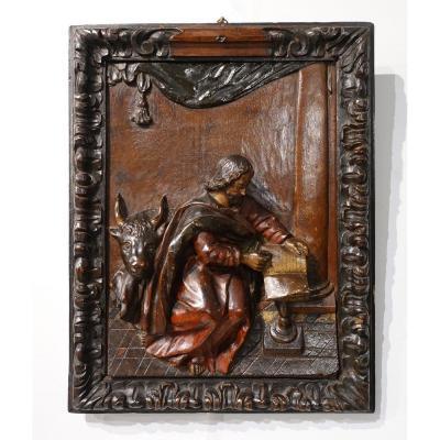 Polychrome Carved Wooden Panel Representing Saint Luke, 17th Century