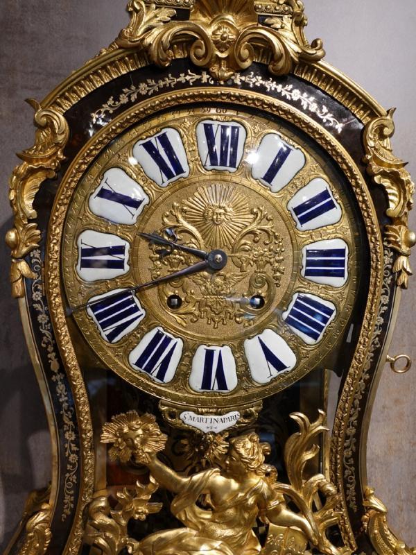 Cartel d'applique Louis XV en marqueterie Boulle signé « Saint Martin à Paris»-photo-2