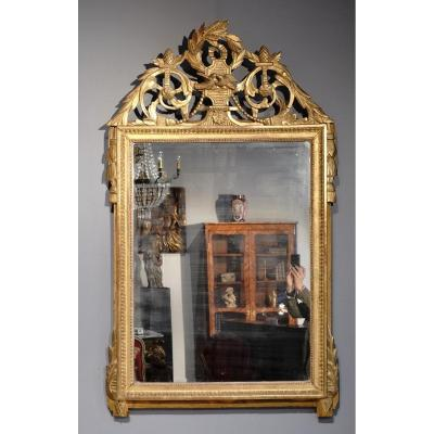 """Louis XVI Mirror, Gilded Wood, With The Attributes Of """"love"""", 18th Century"""