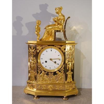 Pendule Restauration en bronze doré signée «Mesnil à Paris», XIX°