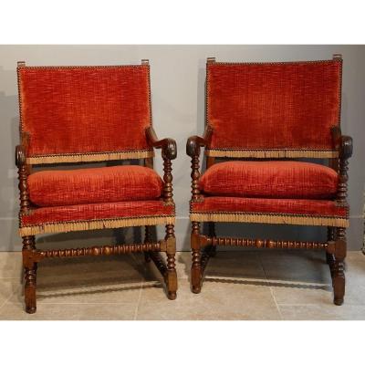 Large paire de fauteuils Louis XIII, dite ''chaises à Bras'' , époque XVII°