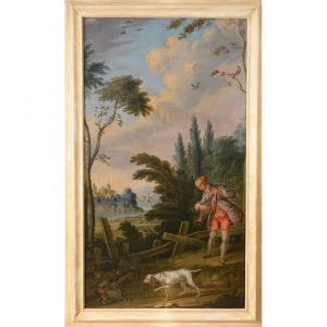 Scène de chasse, grande huile sur toile époque XIX°