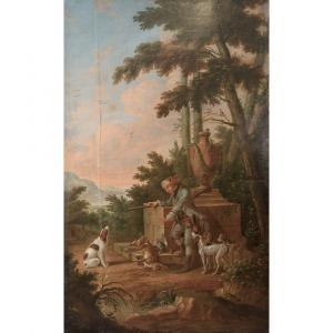 Scène de chasse, très grande huile sur toile époque XIX°