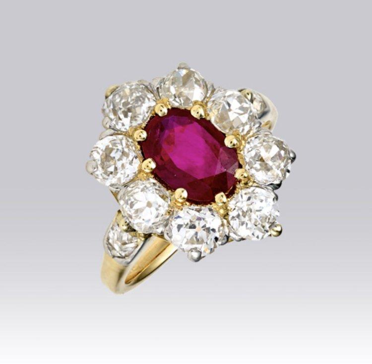 Bague Pompadour Rubis Et Diamants