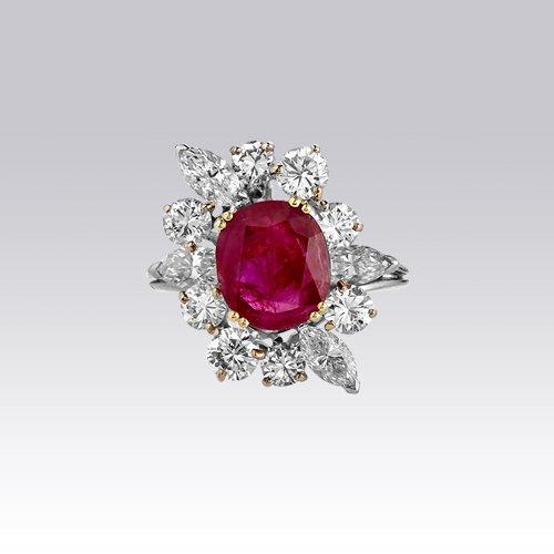 Bague Rubis Brillants Et Diamants Navettes