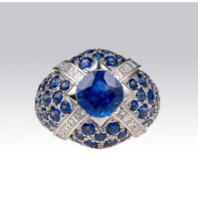 Bague Dôme Saphirs Et Diamants Princesses
