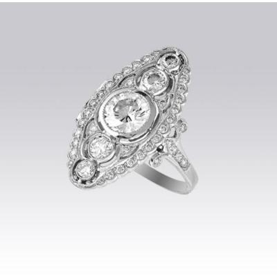Bague Marquise Diamants Style 1910